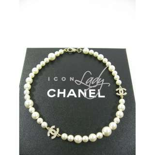 CHANEL A43118 白色珍珠 綴閃石CC Logo 單圈 頸鏈