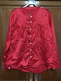 Red Mandarin Collared Long Sleeve Blouse