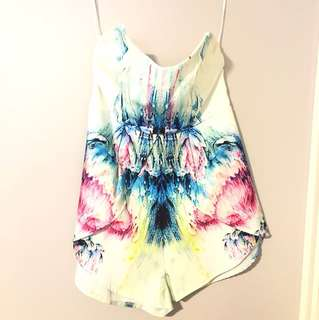 White & Colourful Playsuit