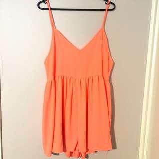 Fluro Orange/Pink Playsuit