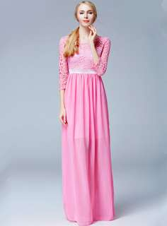 AO/ZTC070606RG - Europe Lace Floral High Waist Chiffon Long Dress