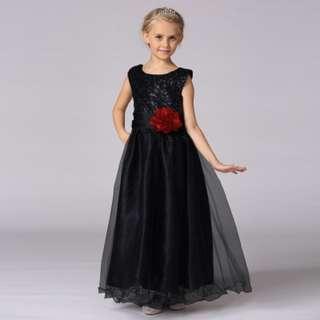 Black Long Gown Flower Girls Wedding Dress Bridesmaids Children Dress
