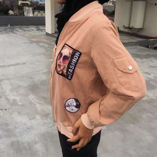 Bomber Jacket Dusty Pink Patch