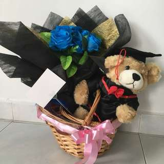 Graduation Bear with flowers