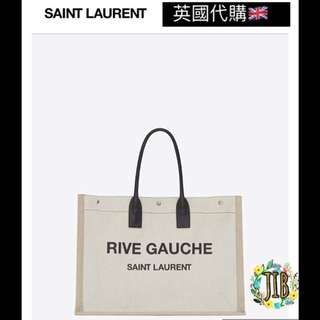 Saint Laurent❤️ RIVE GAUCHE TOTE BAG IN WHITE LINEN AND BLACK LEATHER