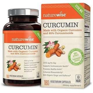 美國NatureWise Organic Turmeric 有機薑黃素790 亳克+薑35亳克+黑胡椒5亳克,180 粒膠囊
