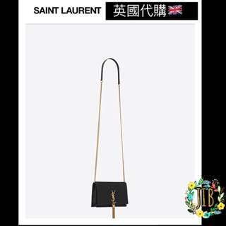 Saint Laurent❤️ KATE CHAIN AND TASSEL WALLET IN SHINY BLACK CROCODILE EMBOSSED LEATHER