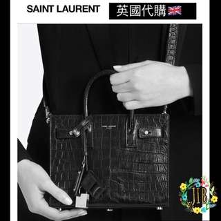 Saint Laurent❤️ NANO SAC DE JOUR SOUPLE BAG IN BLACK CROCODILE EMBOSSED LEATHER
