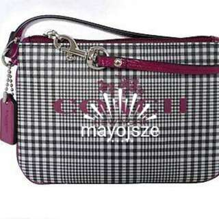 Coach Cranberry Multi Peyton Glen Plaid Wristlet
