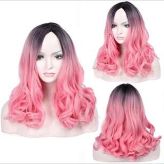 Bubble gum pinks cotton candy curls  mid length full wig