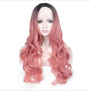 Peach pink cotton candy curls ombré full wig