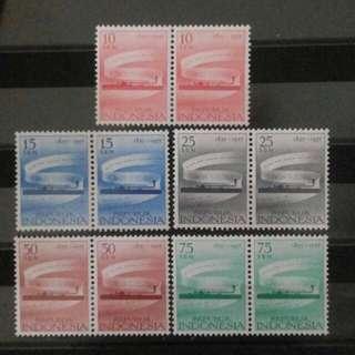 2 Blok Perangko Telegraf 1957