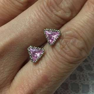 18K GP Cubic Zirconia earring   超閃鍍18K金粉紅鋯石耳環水晶耳環