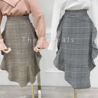 TC1854 Korea Plaid Ruffles Skirt (Brown,Black)