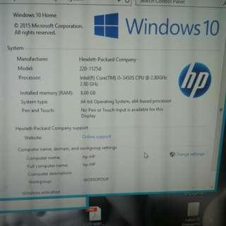 HP all in one desktop omni 220
