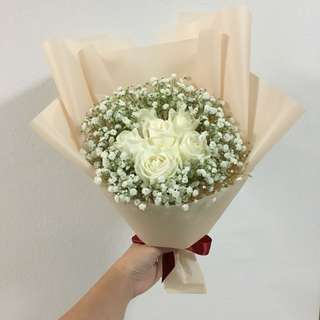 White Roses with Baby Breath in Korean Light Pink Wrapping / Birthday Bouquet