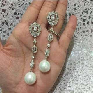18K GP crystal earring  sliver pin 超閃鍍18K金水晶耳環 純銀針 鋯石耳環