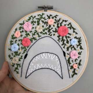 Shark with flowers embroidery decor