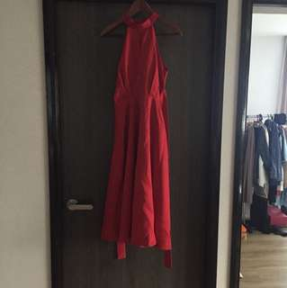 Red Halter Neck Maxi Long Dress