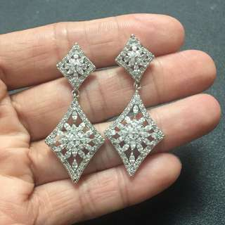 18K GP Cubic Zirconia earring   超閃鍍18K金鋯石耳環 防敏針 水晶耳環
