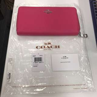 Coach 玫紅色銀包 wallet 52372 全新
