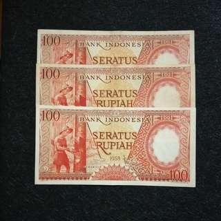 3 pcs 1958 Indonesia 100 Rupiah.
