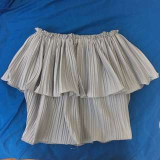 Innit Inspired Off Shoulder Pleated Top Silver Grey