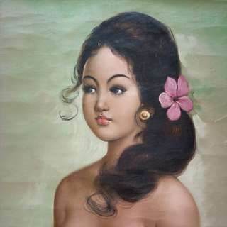 Olden bali lady oil on canvas painting size 59x44cm perfect condition