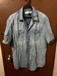 Hm blue short sleeve denim shirt