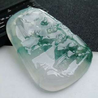 🎍Grade A 冰种 起胶 起荧光 Icy Green Floral Jelly Scenery 山水画 Jadeite Jade Pendant🎍
