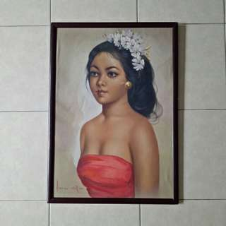 Bali lady oil on canvas with frame size 61x40 perfect condition