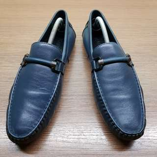 Men's Navy Blue Leather Driving Shoes