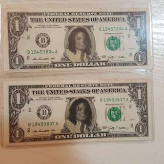 Michael Jackson souvenir US dollar bills (2 pcs) - rare collection!!