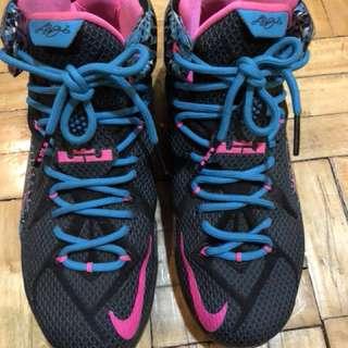 Nike LeBron 12 Black/Pink Pow-Blue Lagoon size US 8 / UK 7 / EUR 41