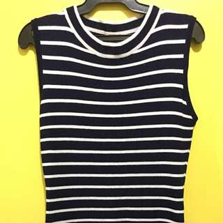 Dark Blue Stripes Fitted Dress