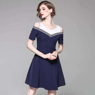 Off shoulder blue strap cotton dress