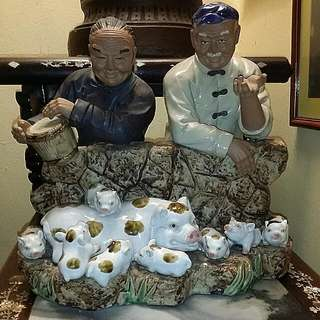 Chinese Vintage Clay Old Couple With Pigs Figurine statue