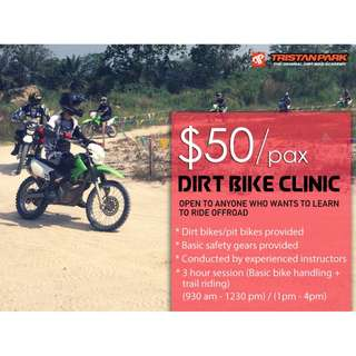 $50 Dirt bike clinic (LEARN HOW TO RIDE A DIRTBIKE!)