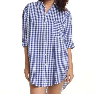 checkered long sleeve shirt (blue)