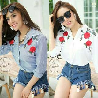 2 Varian Kemeja wanita 811 kemeja bordir blouse bordir kemeja salur