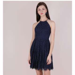 TTR BLOSSOM HALTER LACE DRESS (NAVY)