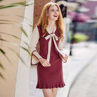 Long sleeve contrast coloured bow tie  dress