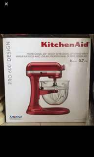 KitchenAid Stand Mixer Pro-600 Glass Bowl 5.7L - Candy Apple Red