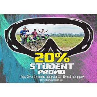 SPECIAL STUDENT PROMO 20% FOR TRISTAN PARK DIRT BIKE RIDING