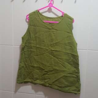 Ladies Linen Green Top