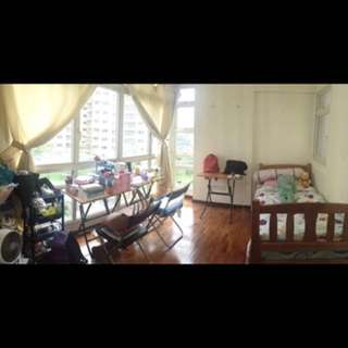 Furnished Master Bedroom with Big wide windows facing garden, with attached bathroom for ladies only