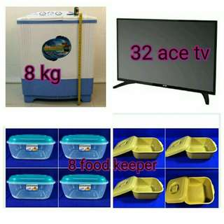 32 inches ace tv/8kg washing machine/food keeper