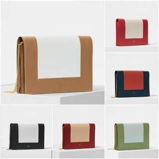 Celine Evening Clutch On Chain In Bicolour Smooth Lambskin
