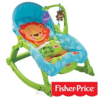 費雪牌 Fisher-Price可愛動物 可攜式 兩用安撫躺椅