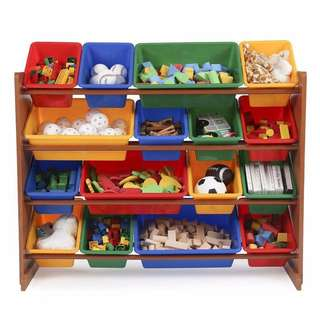 Tot Tutors Focus Super-Sized Toy Storage Organizer with 16 Plastic Primary Colored Bins